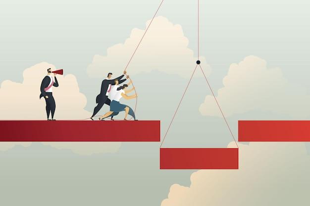 Le travail d'équipe d'affaires relie le pont au succès de croissance d'investissement