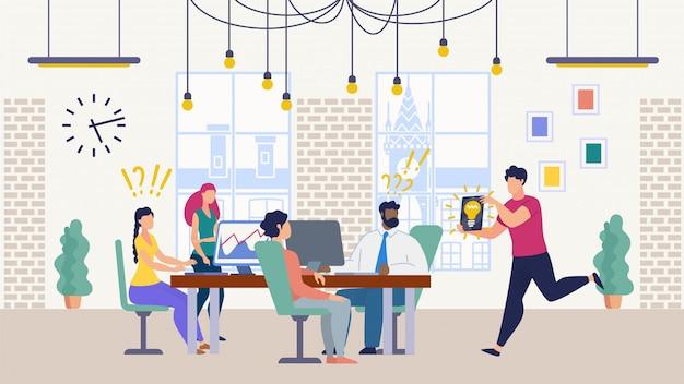 Travail d'équipe au bureau à la recherche d'une idée