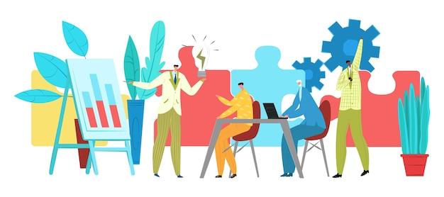 Le travail d'équipe de caractère de développement professionnel d'homme d'affaires résout l'employé de bureau de puzzle tenir l'ampoule f...