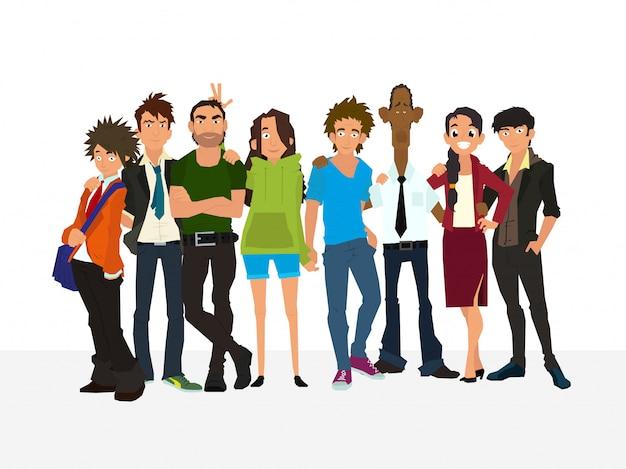 Travail en équipe. concept de groupe de personnes, équipe heureuse, victoire. la meilleure équipe. meilleurs amis. groupe de jeunes: câlin, posant, s'amusant.
