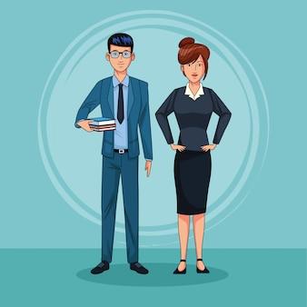 Travail d'équipe de couple d'affaires