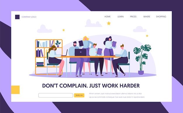 Travail d'équipe dans la page d'accueil du bureau openspace