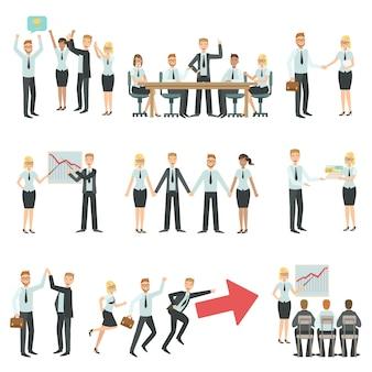 Travail d'équipe dans le processus de travail d'entreprise et la construction d'infographie