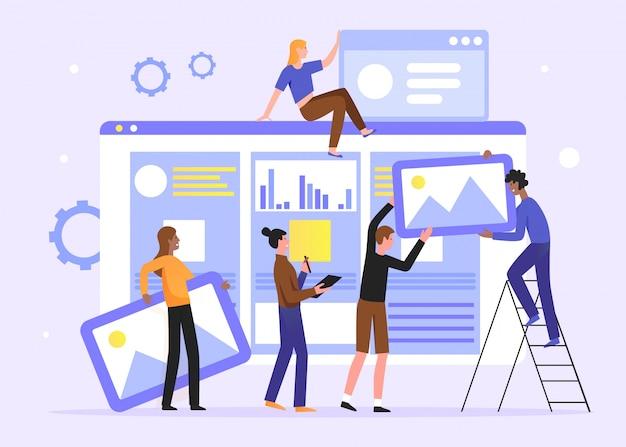 Le travail d'équipe développe l'illustration du contenu des médias sociaux. dessin animé plat minuscule développeur concepteur équipe de personnes travaillant sur une page web créative, un portail de nouvelles ou un site web d'information. contexte du développement web