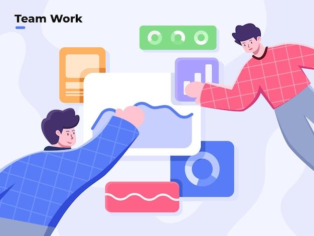 Travail d'équipe d'entreprise collaborative les gens de bureau travaillant ensemble avec des données analytiques