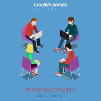 Travail d'équipe groupe de réflexion de personnes illustration concept isométrique