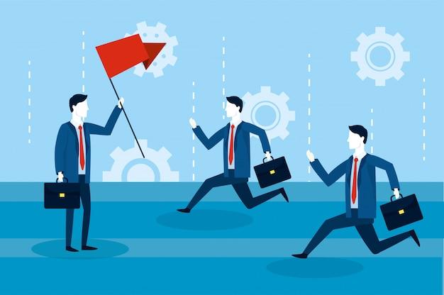 Travail d'équipe d'hommes d'affaires professionnels avec drapeau rouge