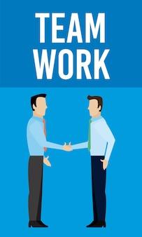 Travail d'équipe hommes affaires secouant les dessins animés vector illustration graphisme