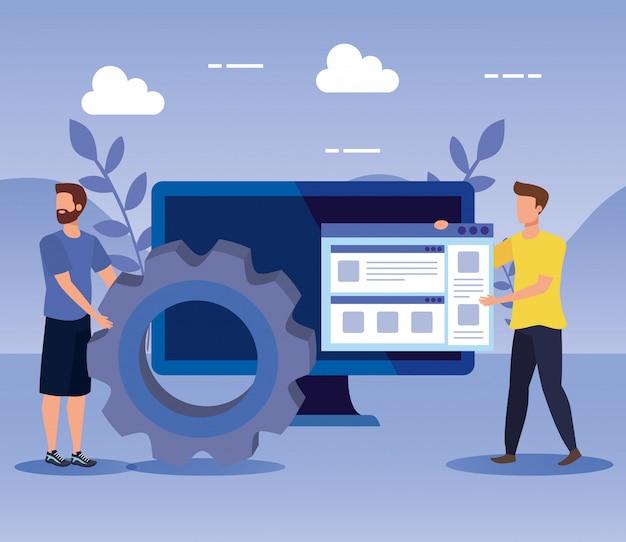 Travail d'équipe hommes avec équipement et site web avec ordinateur