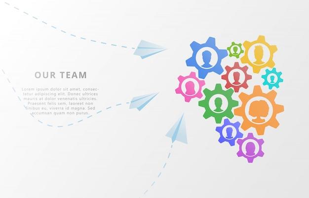 Travail d'équipe. icônes d'avatar et engrenages pour partenariat, conseil, gestion de projet