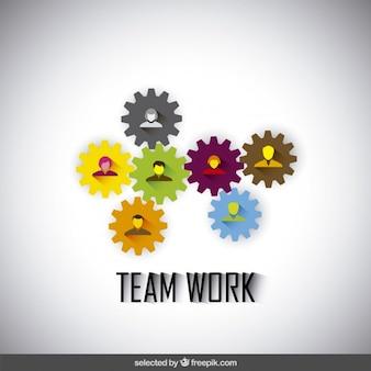 Travail d'équipe illustration réalisée avec des engrenages et des avatars