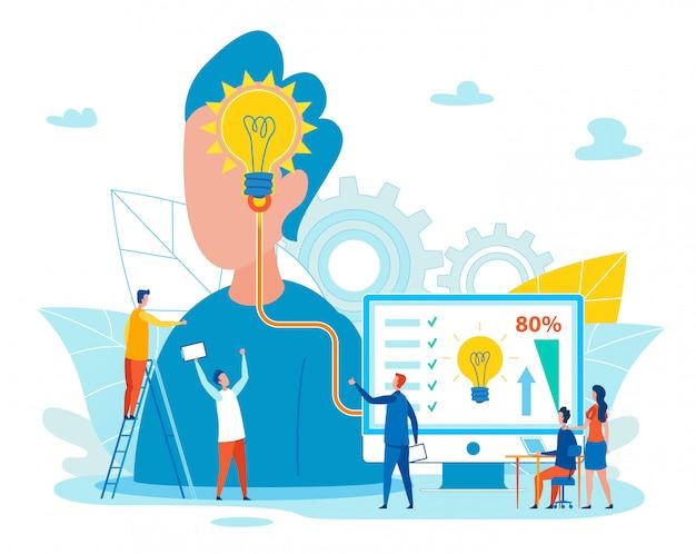 Travail d'équipe informatif sur l'idée de réalisation