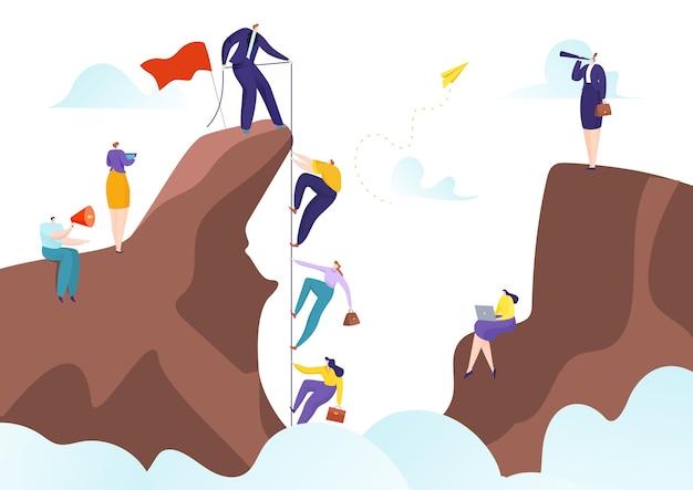 Le travail d'équipe avec le leader du succès aide à atteindre les objectifs