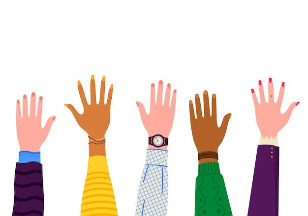 Travail d'équipe de mains d'affaires. amis avec pile de mains montrant l'unité et le travail d'équipe, vue de dessus. entreprise, collaboration et partenariat. non au racisme.