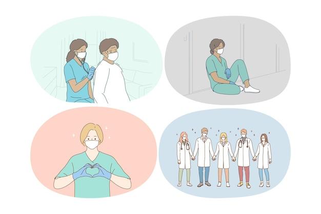 Travail d'équipe de médecins, unissant les efforts contre l'illustration du concept de pandémie covid-19