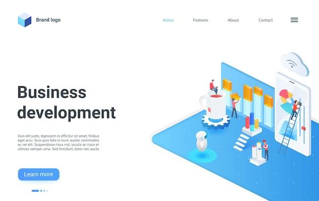 Travail d'équipe sur la page de destination isométrique de développement commercial sur l'analyse de l'analyse des données numériques