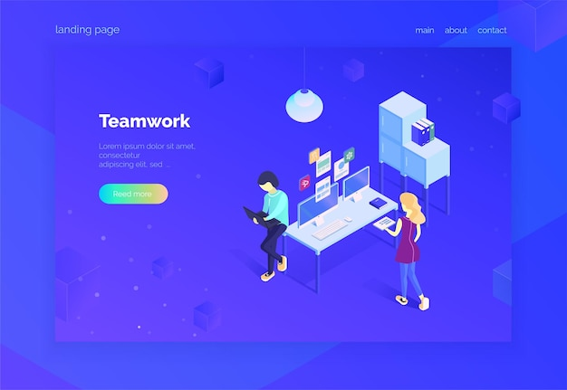 Travail d'équipe page de destination pour le web un groupe de spécialistes interagit avec les systèmes numériques