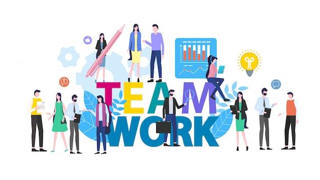 Travail d'équipe personnes homme femme employé de bureau illustration vectorielle.