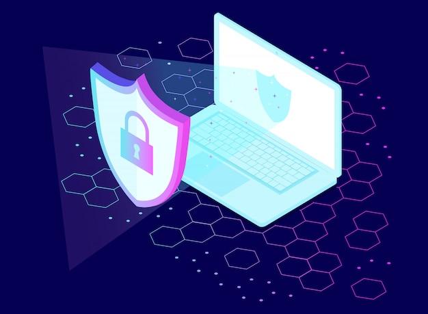 Travail d'équipe des petits peuples travaillant sur le concept de données de cybersécurité et d'ordinateur.