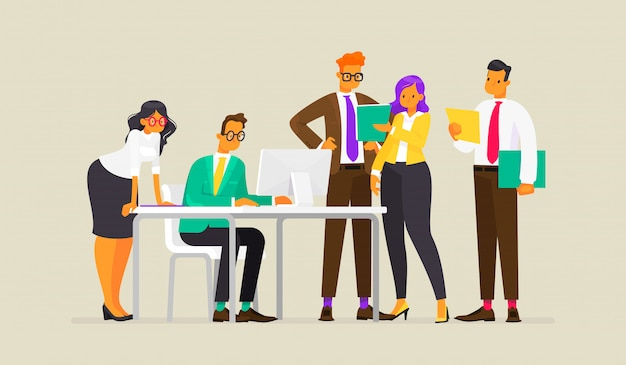 Travail en équipe. processus de travail des gens d'affaires, illustration dans un style plat
