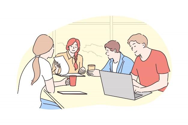 Travail d'équipe, remue-méninges, affaires, réunion, discussion de communication, concept de négociation