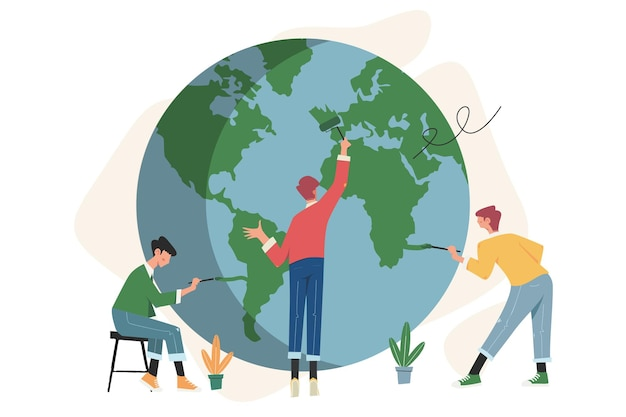 Le travail d'équipe se prépare pour le jour de la terre sauver la planète et le concept d'illustration de l'énergie