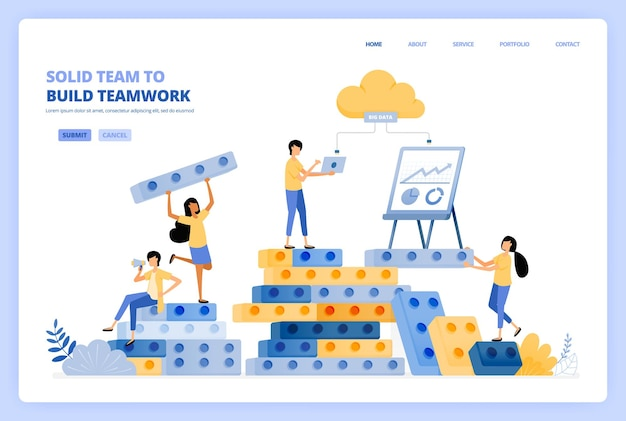 Travail d'équipe solide dans l'établissement de relations. brainstorming pour réussir la construction. le concept d'illustration peut être utilisé pour la page de destination, le modèle