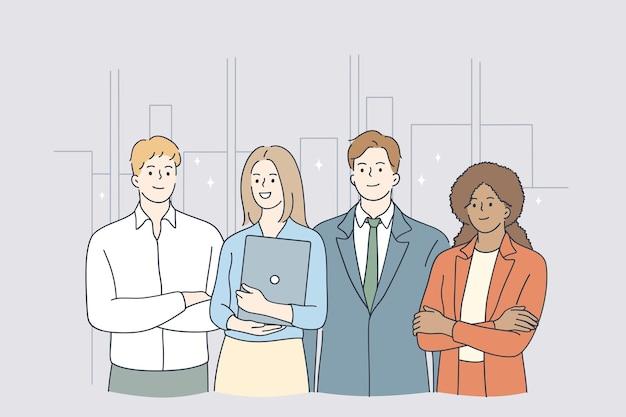 Travail d'équipe, succès, concept d'employés de bureau
