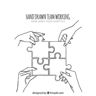 Travail en équipe tiré à la main avec un puzzle