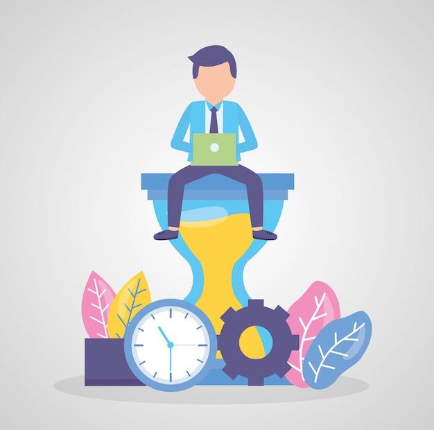 Travail d'horloge homme d'affaires