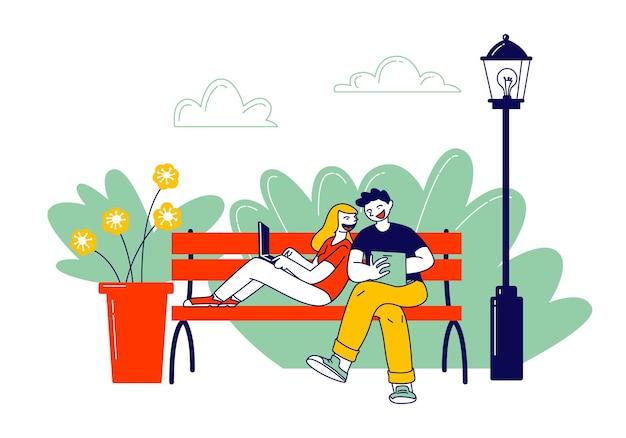 Travail indépendant à distance, concept de travail indépendant. illustration plate de dessin animé