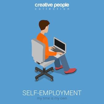 Travail indépendant indépendant sur illustration de concept isométrique de chaise. freelancer jeune homme travaillant sur ordinateur portable.