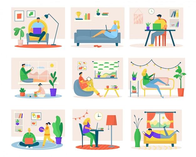 Travail indépendant à la maison, ensemble de pigistes homme femme avec ordinateur portable de devoirs, tablette, illustrations sur le lieu de travail de l'ordinateur de table. travailleurs de la situation de vie des gens au bureau à domicile, free lance.