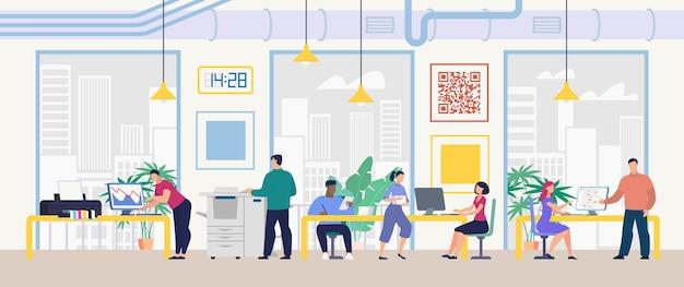 Travail quotidien et bureau routine concept vectoriel plat