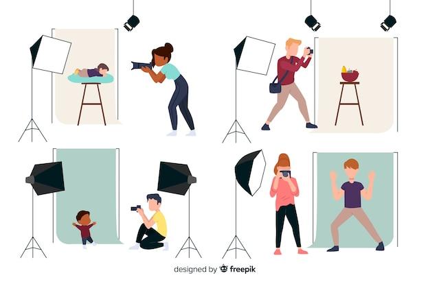 Le travail quotidien des photographes personnages de design plat