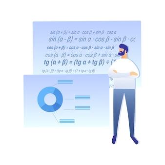 Travail scientifique, recherche vector plate illustration