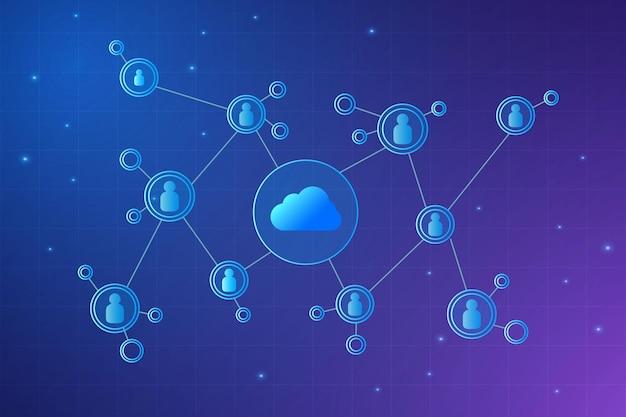 Travail de stockage en ligne futuriste de technologie cloud moderne à domicile