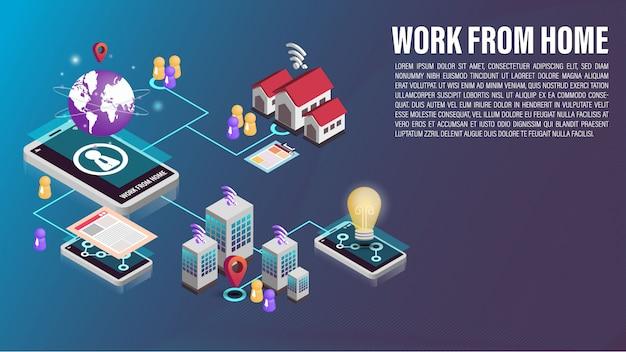 Travail de téléphone portable 3d à partir d'une connexion réseau domestique
