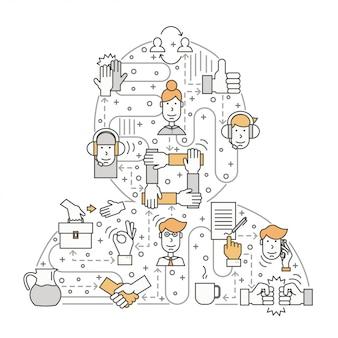 Travailler avec le concept de clients dans le style de ligne plate