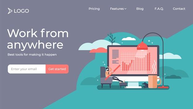 Travailler de la conception de modèle page d'accueil page d'accueil personne minuscule vector illustration