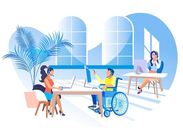 Travailler dans un centre d'appels pour personnes handicapées.