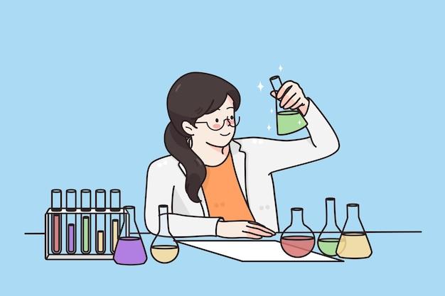 Travailler dans le concept d'expérience scientifique de laboratoire