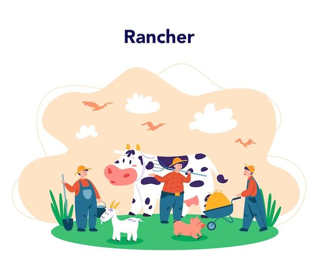 Travailler dans une ferme, concept d'agriculteur. les agriculteurs travaillent sur le terrain, arrosent les plantes et nourrissent les animaux. vue sur la campagne d'été, concept de l'agriculture. vivre dans le village. illustration plate isolée