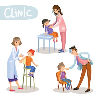 Travailler dans le vecteur de dessin animé clinique pédiatre