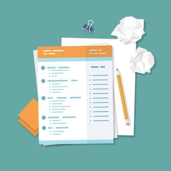 Travailler avec des documents remplissant des formulaires vierges papier froissé crayon autocollants clip pour reliure illustration vectorielle vue de dessus