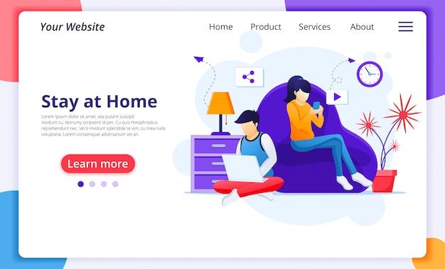 Travailler à domicile concept, rester à la maison en quarantaine pendant l'épidémie de coronavirus. modèle de conception de page de destination de site web
