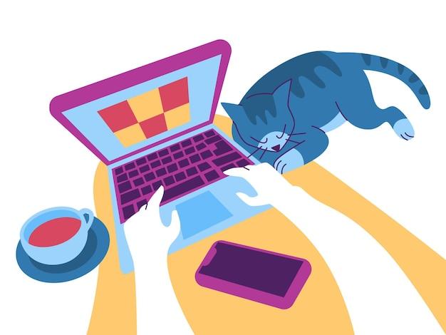 Travailler à domicile sur ordinateur portable