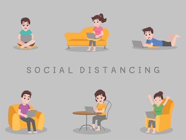 Travailler à domicile, rester à la maison rester en sécurité. distanciation sociale