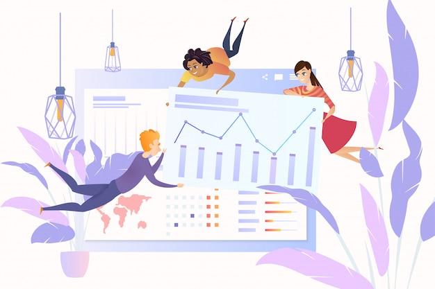 Travailler avec des données statistiques en ligne cartoon vector