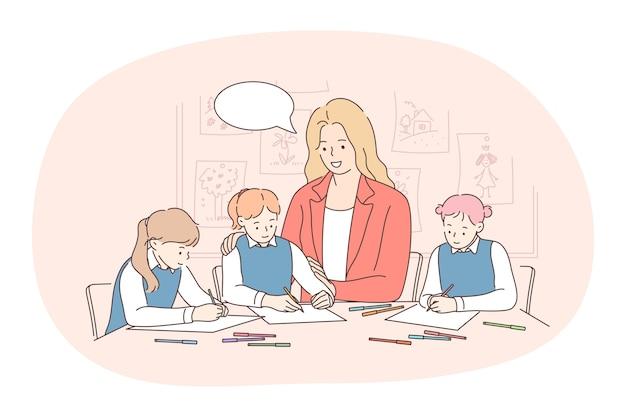 Travailler avec les enfants, le travail, le concept de professions. jeune femme souriante enseignant ou nounou dessin